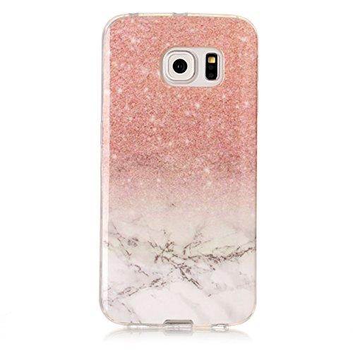 Samsung Galaxy S6 Edge Hülle, Galaxy S6 Edge Schutzhülle,Alfort TPU Silikonhülle Marmor Muster Schutzhülle Weich Schutzhülle Cover für Samsung S6 Edge (Roségold weiß)