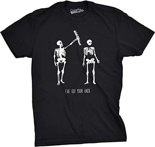 Crazy Dog Tshirts Mens Got Your Back Funny Skeleton Best Friend Halloween T Shirt (Black) M - Herren - - Nerdy Witze Halloween