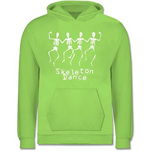 Kinder - Skeleton Dance Skelett Tanz - 9-11 Jahre (140) - Limonengrün - JH001K - Kinder Hoodie ()