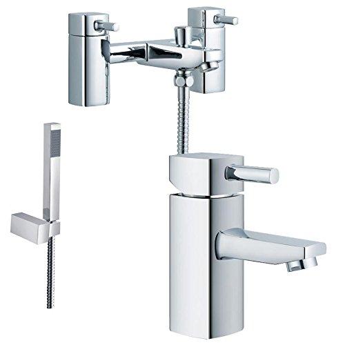 Bords arrondis Design carré robinet mélangeur de baignoire + douche et robinet mélangeur de lavabo (Nice 41)