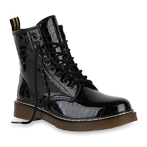 Stiefelparadies Damen Stiefeletten Worker Boots Profilsohle Stiefel Outdoor Schuhe 175415 Schwarz Kroko 40