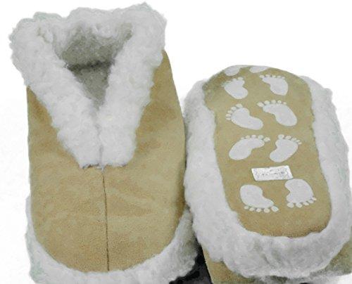 Echtleder Hausschuhe Pantoffel Damen Herren ABS Stopper Fell beige Gr: 35-52 (sch43) Beige