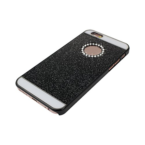 2 PCS iPhone 6 Plus Hard Tasche Glitter, iPhone 6S Plus Hard Tasche Glitter, Moon mood® Ultra Slim Thin 3D Bling Strass Hülle Hart Bling Gliter Handytasche Kristall Schutzhülle für Apple iPhone 6 Plus Schwarz