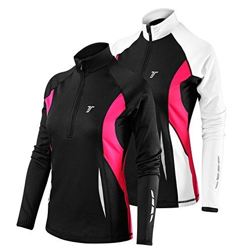 TCA Femme Winter Run Veste de Course & Sport Hiver Thermique à Manches Longues - Noir/Rose, L