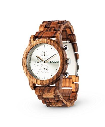 LAiMER Limited Edition Box per uomo | Orologio da polso in legno zebrano, cinturino addizionale in pelle di vitello, fermasoldi in legno zebrano | 100% prodotto naturale e Made in Italy