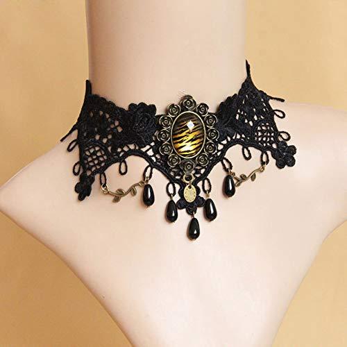 MLSJM Damen Halskette, Gothic Leopard Pearl Black Lace Choker, Halloween Kostüm Party Prom Schmuck, 11 + 2,7 - Pearl Damen Kostüm