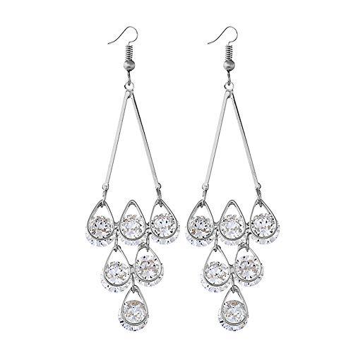 YAZILIND Crystal Chandelier Ohrringe für Frauen Kleid Zubehör Tiered Dangle Drop Haken Ohrring Legierung Schmuck (Silber) Tiered Kleid