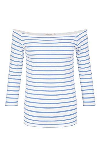 ARMEDANGELS Damen Longsleeve aus Bio-Baumwoll Mix - Madita Stripes - GOTS, ORGANIC, CERES-008 off white-azure blue