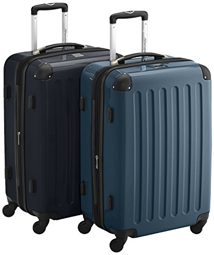 HAUPTSTADTKOFFER - Alex - 2er Koffer-Set Hartschale glänzend, TSA, 65 cm, 74 Liter, Aubergine-Silber Waldgrün-Schwarz