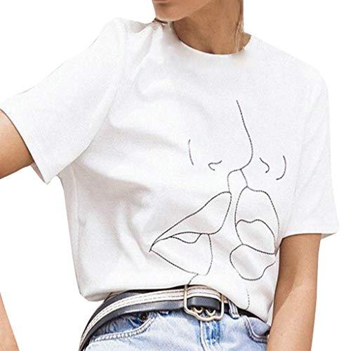 iHENGH Damen Top Bluse Bequem Lässig Mode T-Shirt Frühling Sommer Blusen Frauen Plus Größe lässig Rundhals Top Shirt(Weiß, (Cinderella Kostüme Plus Größe)