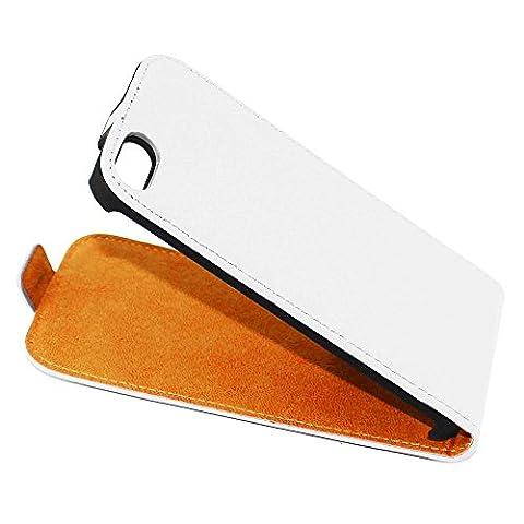 ebestStar - pour Apple iPhone SE 5S 5 - Housse Coque Etui à rabat PU cuir ULTRA FIN (ultra slim case), Couleur Blanc [Dimensions PRECISES de votre appareil : 123.8 x 58.6 x 7.6 mm, écran