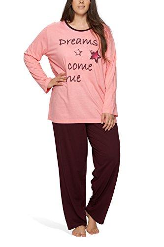 Damen Schlafanzug in großen Größen (Übergröße XL - 4XL) mit Motivdruck 'Dreams come true' - Moonline Plus , Farbe:rosa, Größe:52/54