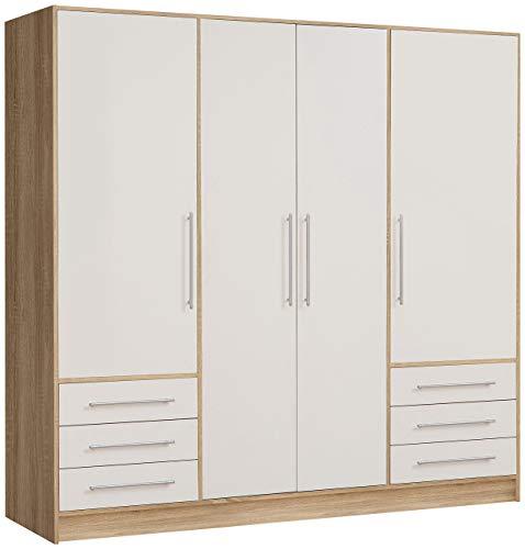 NEWFACE  Kleiderschrank 4-türig, 6 Schubkästen, Holz, Sonoma Eiche Dekor + Weiß, 206.5 x 60 x 200 cm -