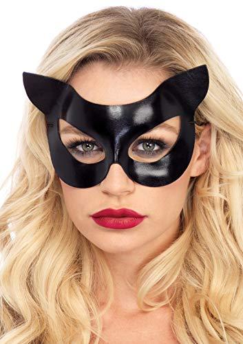 Leg Avenue A2755 - Vinyl Katze Maske - Einheitsgröße, schwarz, Damen Karneval Kostüm Fasching