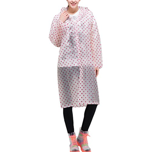 Zhhlinyuan Unisex Portable Foldable Rainwear Outdoor Fashion Dots Waterproof Imperméable red