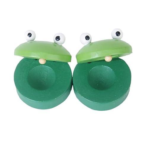 TOOGOO(R)1 Paire castagnettes rondes en bois de Grenouille pour bebe Jouet de Instrument Musical - Vert