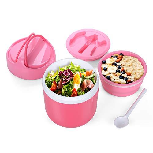WayEee Lunch Pot 960ml, Super Kapazität Thermobehälter Essen & Suppe Flasche mit Löffel für Kinder und Erwachsene (Rosa) (Super Löffel)