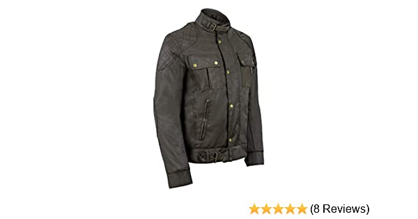 Gallanto Mens Classic Brown Waxed Cotton Motorcycle Jacket Textile Biker Armoured