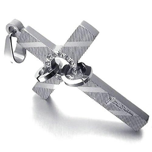 AMDXD Catena Acciaio Gioielli Collana in Acciaio Cristallo 3.1cm Croce d'argento 26 Pollici Collane