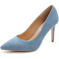 SUNROLAN Damen Schuhe High Heel Pumps Elegant Stilettoabsatz Party Abend Arbeit Hellblau 44