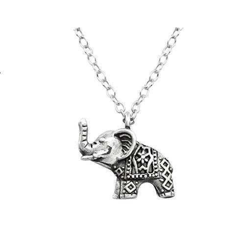 Laimons Colgantes con collar para mujer Elefante Envejecido Plata de ley 925