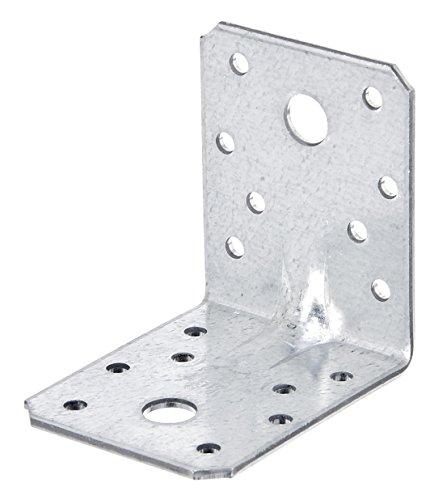 GAH-Alberts Schwerlast-Winkelverbinder mit Sicke, Handwerkerpack, sendzimirverzinkt, 70 x 70 x 55 mm / 50 Stück -