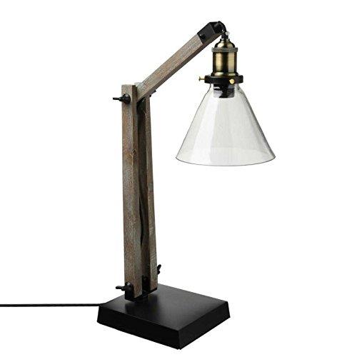 Grande lampe à poser avec abat jour en verre - Originale, Ajustable et Rétractable