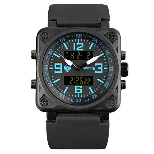 Herren Uhren Männer Armbanduhr Digital Militär Uhr Outdoor Herrenuhr Schwarz Tactical Watch Gummi Armband by Infantry
