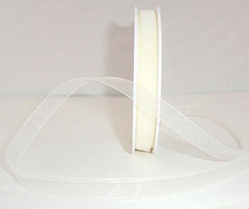 SCHLEIFENBAND Organza 50m x 10mm CREME Organzaband Geschenkband DEKOBAND Hochzeit Antennenband