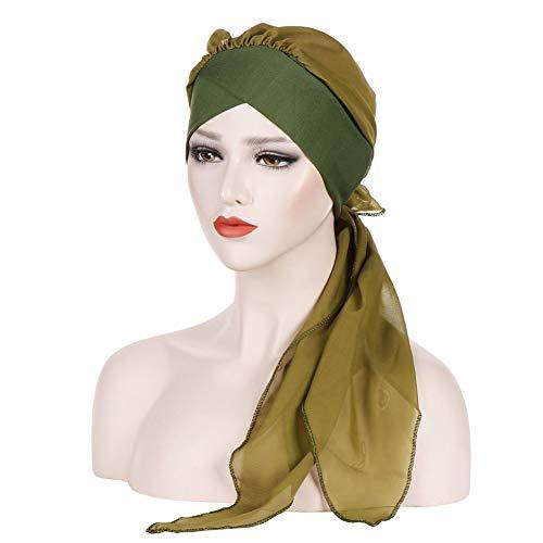 Armee Bandana (MoreChioce Damen Kopftuch Headwear,Frauenalltags Turban Baumwolle Bandana Knot Headwrap Chemo Headscarf Muslim Kopftücher,Armee Grün)