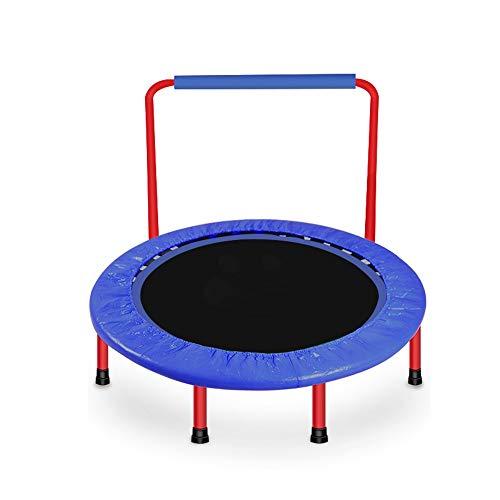Faltbares Mini-Trampolin für Kinder Im Innenbereich mit U-förmigen Sicherheitshandläufen Maximale Belastung Von 100 Kg Innentrampolin (Color : Blue)