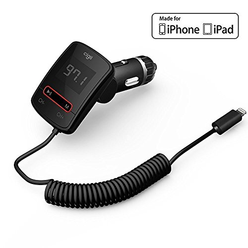 Cigii FM Transmitter Auto mit Lightning Connector [MFI Apple Zertifiziert] für iPhone 5, 5S, 6, 6 Plus, 6S, 7, 7 Plus/iPad Air, iPad Mini/iPod Touch mit Lightning Kabel, MP3-Streaming zu Radio Stereo-Car Kit (Transmitter Fm Auto 5 Iphone Für)