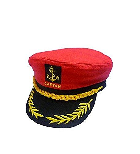 Honeysuck Classic Stickerei Matrosenmütze Captain Kostüm Yacht Cap (rot)