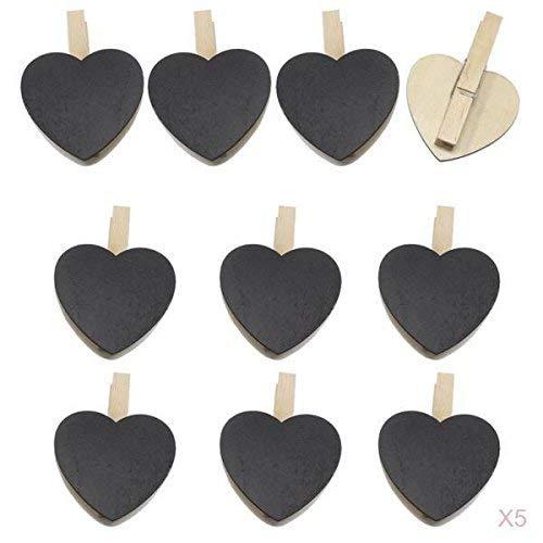 Backbayia 50 Stück Memotafeln Herz Tafeln Holzklammern Deko Klammern Zierklammern Handwerk Clips (Herz Papier-handtuch-halter Mit)