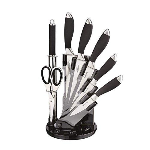 Schäfer 8-Teiliges Design Messer-Set aus Edelstahl, inkl. Acrylaufsteller Messer-Block Schwarz