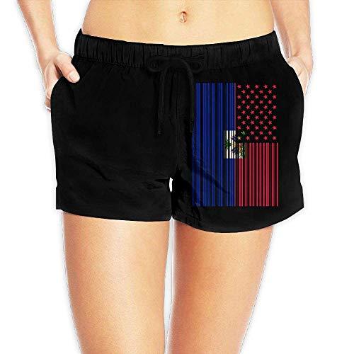Hwgss Bar Coded USA Haitian Flag Womens Lightweight Board/Beach Shorts Drawstring Swimming Shorts Pockets(S) - Oakley Lightweight Shorts