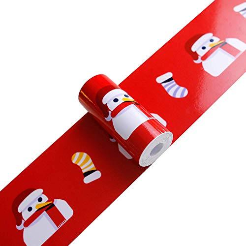 Joqixon Weihnachten Taille Linie Aufkleber PVC selbstklebend Bordüre Fensteraufkleber Wandaufkleber Glasaufkleber Abnehmbare Tapete Grenze Weihnachtsdekoration -