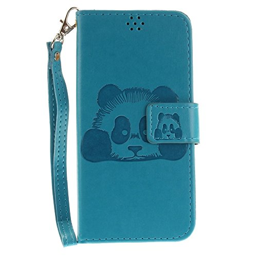 Solid Color Embossed Panda Pattern Horizontale Folio Flip Stand Brieftasche Case Cover mit Card Slots & Lanyard für Samsung Galaxy J5 2017 J530 Europäische Version ( Color : Black ) Blue