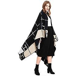 Aimljr_scarf Foulards Femme Echarpes Femme Echarpes Foulards Femme Automne et Hiver Grand châle Couverture épaisse Couverture de climatiseur Couverture Tapis de Voyage Noir A