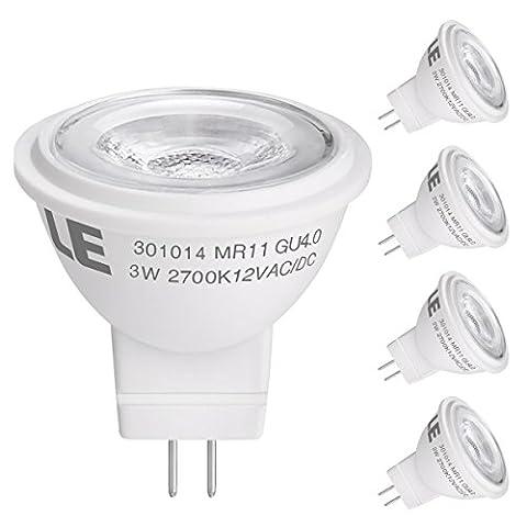 LE 4 Pack GU4.0 LED Light Bulb, Equal to 35W Halogen Bulb, 3W, 190lm, 36° Beam Angle, Warm White, MR11 LED Light Bulbs