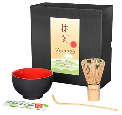 Aricola–Cuenco para té matcha (Cuchara de bambú, brocha de Juego de 3piezas