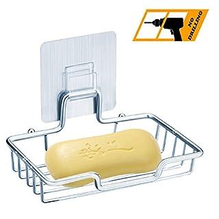 Kwode Seifenschale Halter Edelstahl Seifenhalter Ohne Bohren Seifenkorb Wiederverwendbar Selbstklebende Seifenablage für Badezimmer und Küche