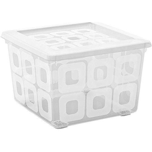 Kis 8499000 0202 02 Square Box Scatola portaoggetti in plastica, 28 litri, colore: trasparente