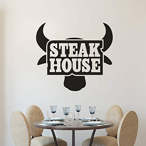 ziweipp Restaurant Küche Vinyl Wandaufkleber Steak House Logo Wandkunst Aufkleber Removable Beef Steak Fenster Poster Bull Tapete 42x38 cm Logo Steak