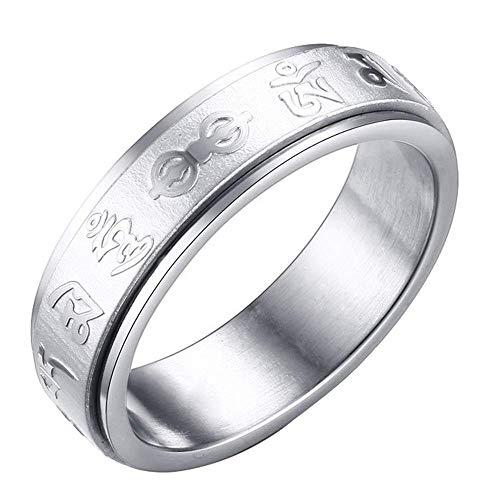 Purmy Damen Ring Edelstahl Hochzeitsband Buddhism Religion Sechs-Wort-Mantra -