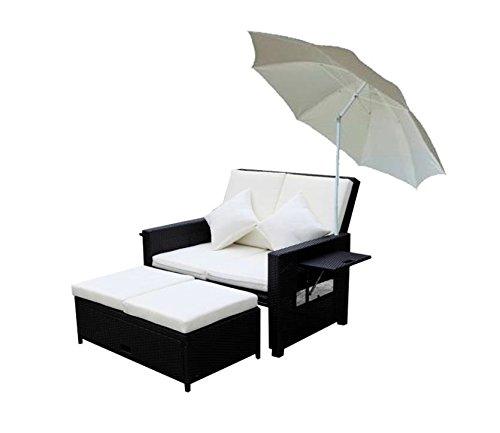 Unbekannt Multifonction en polyéthylène et rotin Canapé Siège Canapé Groupe Table Lounge Repose-Pieds avec Parasol
