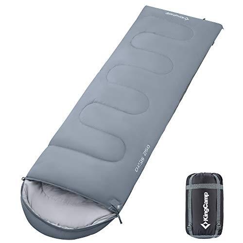 KingCamp Oasis Serie Deckenschlafsäcke mit Kopfteil (Grau Right Zip, Erwachsene 4 Jahreszeiten 220 x 75cm)