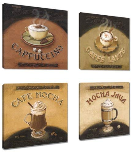 Visario Leinwandbilder 6903 Bilder 4-er Set auf Leinwand Kaffee Coffe 4 x 20 x 20 cm