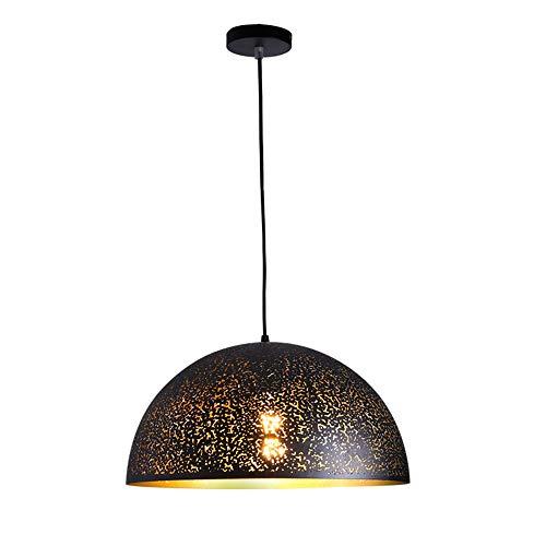 FANXL Moderno Negro Lámpara Colgando Arte de Hierro Hueco Tallado la Hemisferio Sombra Lámpara Colgante Dormitorio Sala de Estar Cocina Colgante Luz Minimalista Personalidad Lámpara Colgante
