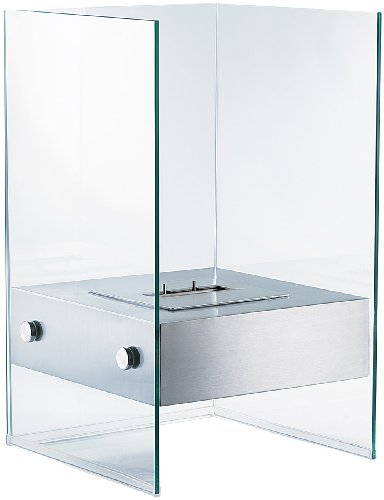 Preisvergleich Produktbild Carlo Milano Dekofeuer: Bio-Ethanol Deko-Feuer im Glaswürfel-Look (Ethanol Standkamin)